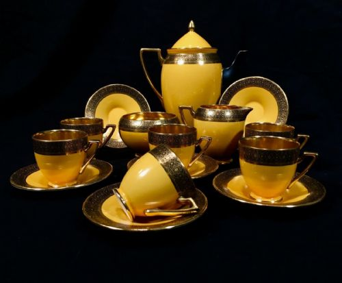 Antique Carlton Ware Art Deco Yellow & Gold Tea / Coffee Set For 6 People RARE